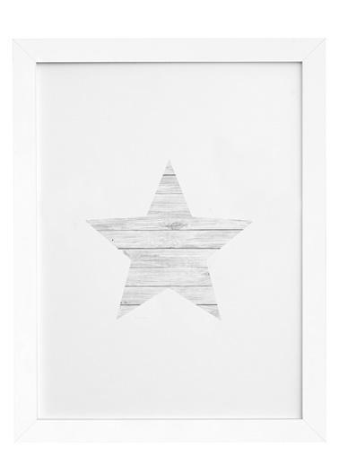 Nordbagen Wood Star Poster Beyaz